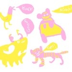 A collection of some badly drawn beasts in pink & yellow