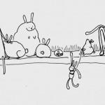 A shelf full of bunnies