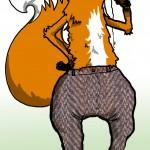 A fox in MC Hammer-style baggy tweet trousers