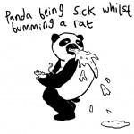 A panda being sick whilst bumming a rat